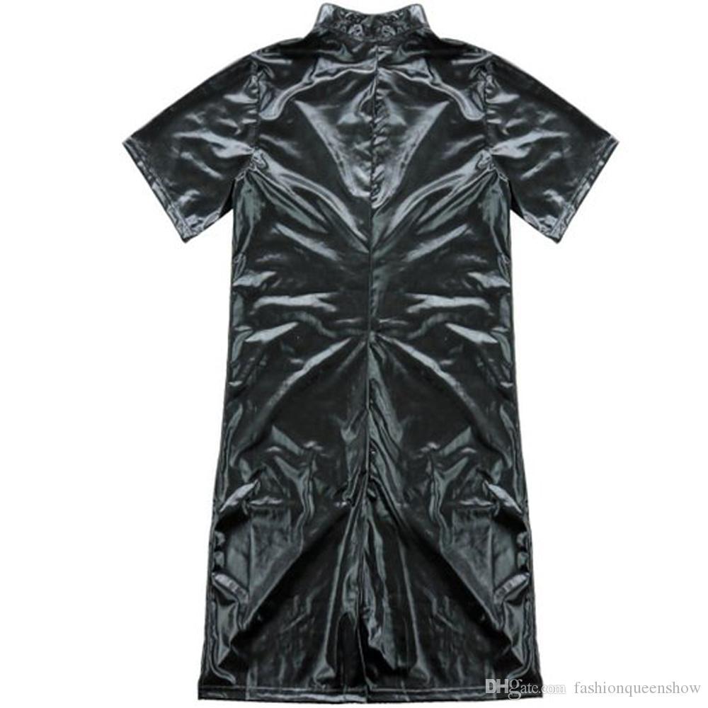 Bar Clubwear del costume maniche corte flessibile tuta del maschio sexy calzamaglia nera Zipper Tuta tuta Nightclub uomo