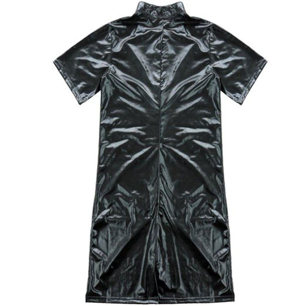 Men's Flexible Bodysuit Male Sexy Black Leotard Zipper Catsuit Short Sleeves Jumpsuit Nightclub Bar Clubwear Costume