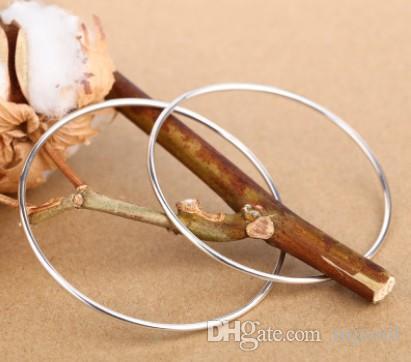 Wholesale 925 Silver Smooth round bracelet female.Circle bracelets