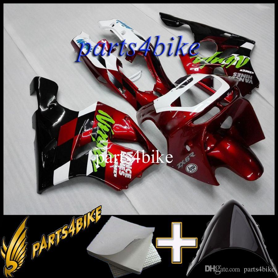 Aftermarket Plastic Fairing for Kawasaki ZX6R 94 97 ZX-6R 1994-1997 94 95 96 97 red black Body Kit motorcycle panels