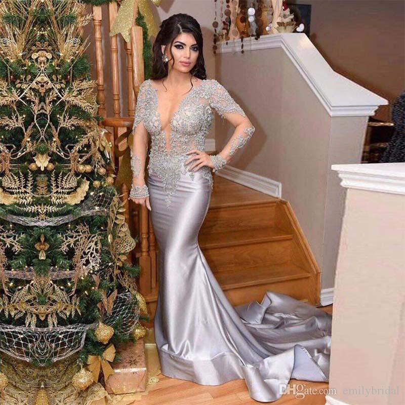2018 New Design Long Sleeve Silver Evening Dress Formal Occasion