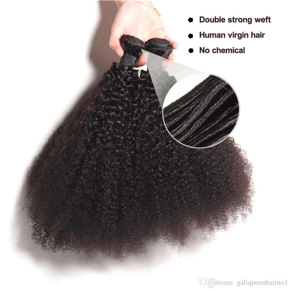Peruvian Human Remy Virgin Hair Afro Kinky Curly Hair Weaves Hair Extensions Natural Color 100g/bundle Double Wefts 3Bundles