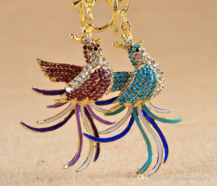 The new ornament set drill animal model key ring Colorful diamond mythical creatures phoenix key chain Beautiful pendant