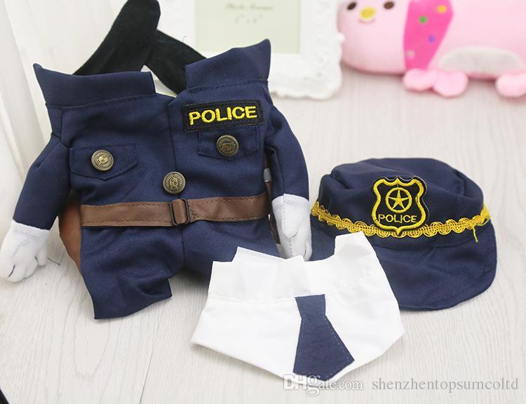 기발한 재미 있은 애완 동물 고양이 개 복장 제복 양복 옷 + 모자 경찰 천은 개 고양이를 위해 설정
