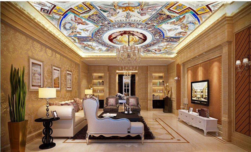 사용자 정의 3D 천장 벽지 유럽 스타일 웅대 한 3d 천장 벽화 벽지 거실 침실 천장 벽지