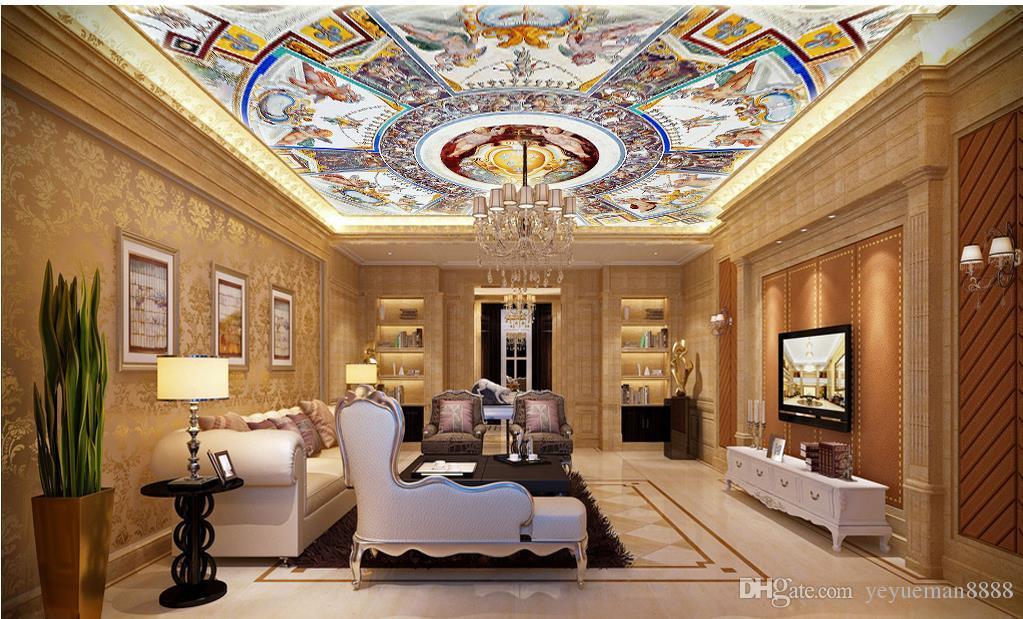 benutzerdefinierte 3d decke tapete Europäischen stil herrliche 3d decke wandbilder tapete wohnzimmer schlafzimmer decke tapete