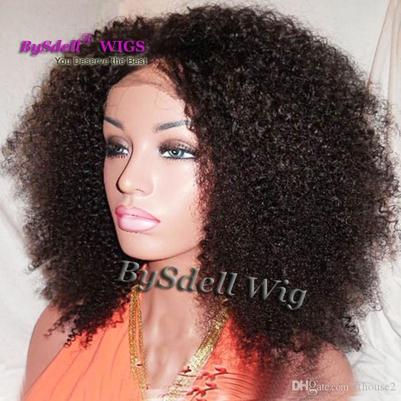 Glueless Simulation Lace Human Hair Wigs Kinky Curly 100% Unprocessed Brazilian Virgin Hair Lace Front u part lace human hair curly type wig