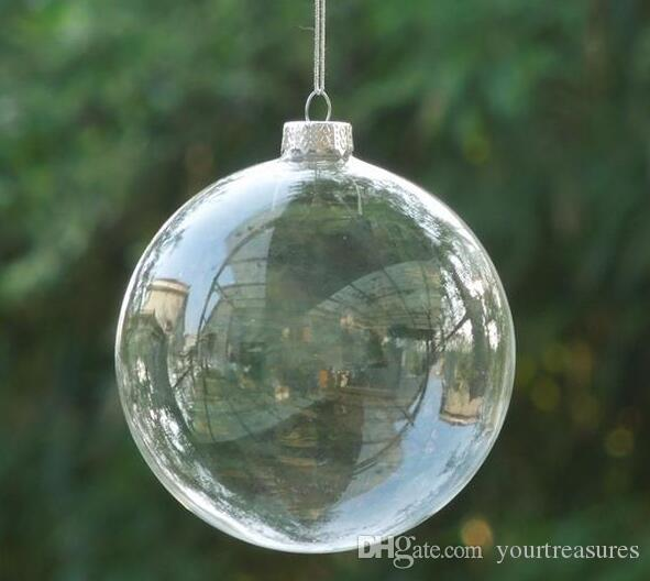 Christmas Tree Glass Balls Ornament Christmas Decoration 80mm clear balls Xmas party supplies hanging Baubles Balls