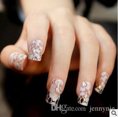 Hot Bridal Nail Patch Angel Fingertip Bridal Nail Glitter Flowers