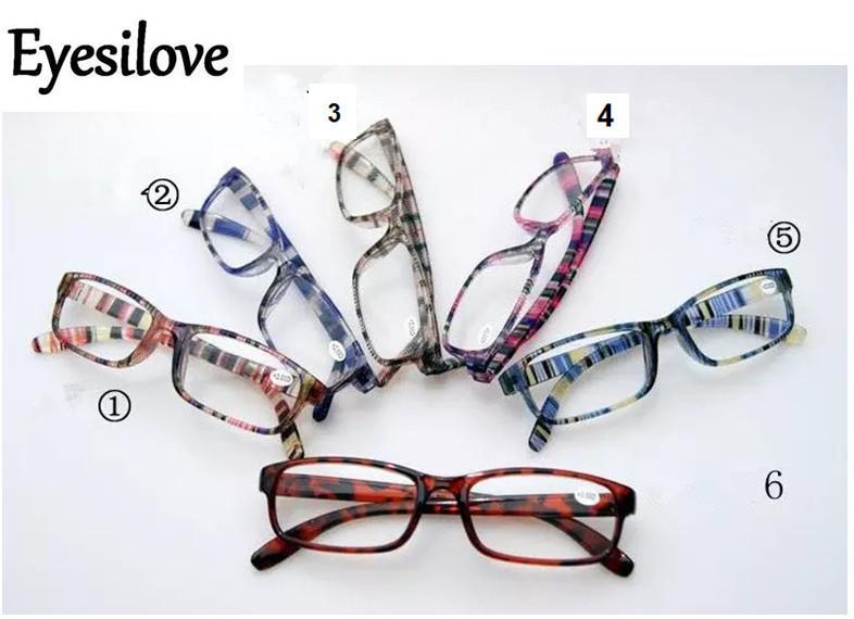 15 stks / partij Kleurrijke leesbril 6 kleuren lenzen vermogen van +1.00 tot +4.00 Accepteer gemengde bestelling