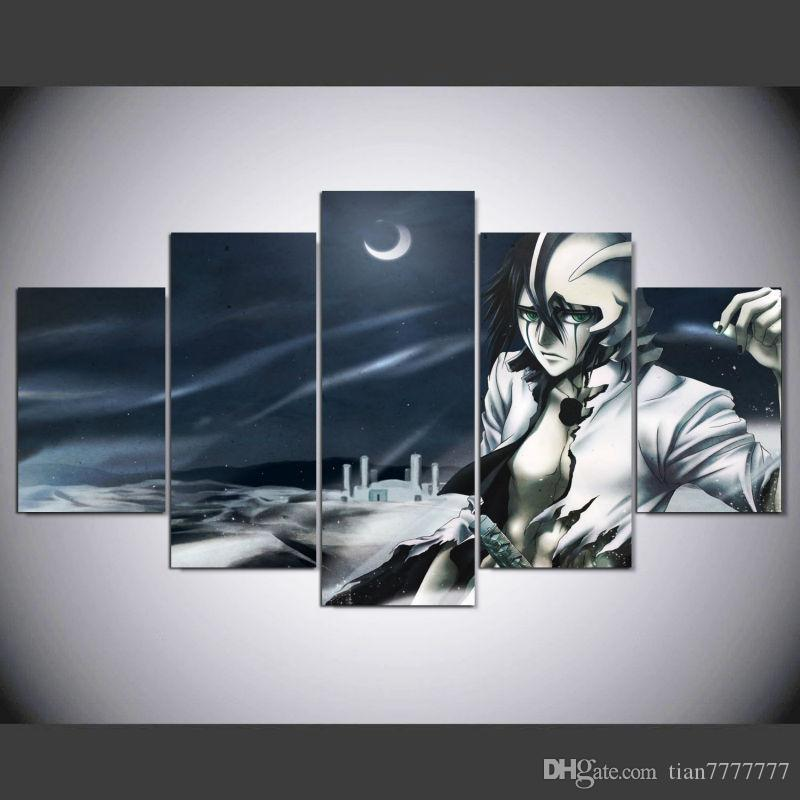 2018 Unframed 5 Panel Home Decorative Black And White Painting Modern Art Anime Bleach Character Canvas For Drawing Room Wall Poster From