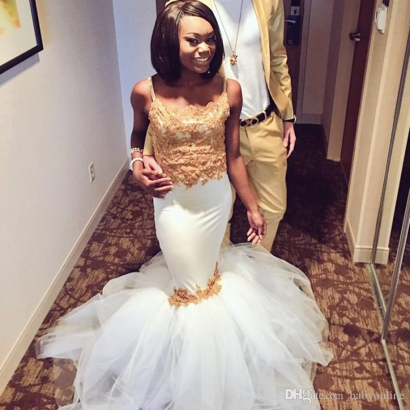Sexy Mermaid White and Gold African Prom Dresses With Tulle Puffy Skirt Spaghetti Straps Lace Corset Arabic Party Gowns