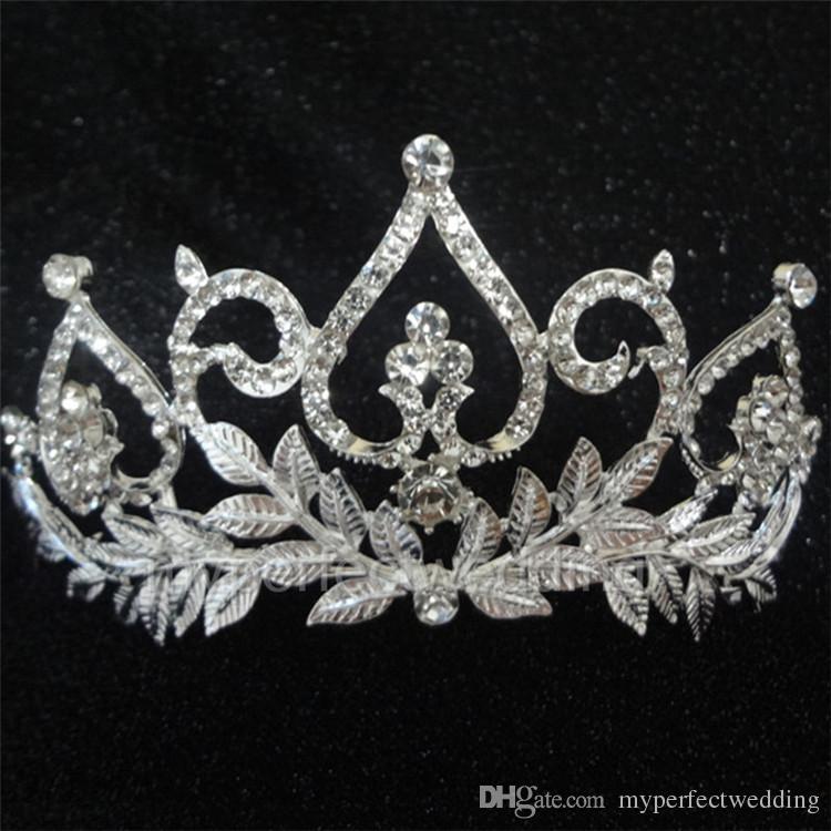 리얼 포토 Bridal Crown 로맨틱 한 고품질 라인 석 크리스탈 웨딩 헤어 액세서리 Handmade Leaves 특별한 때가 오기 미인 대회 Tiaras Hot