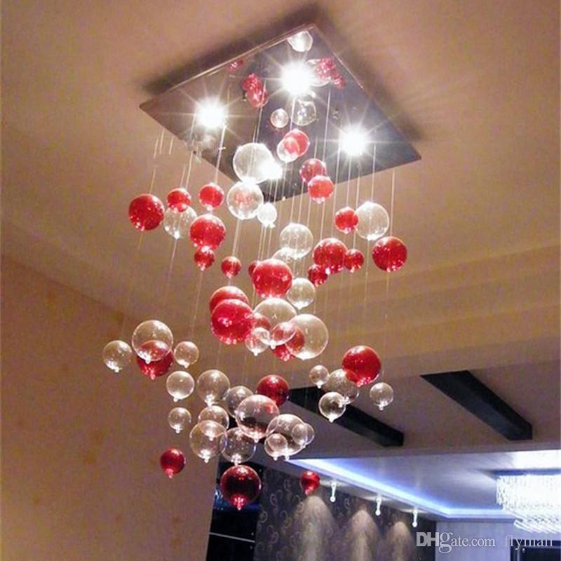 Indoor Pendant Light Red Bubble Pendant Lamp Glass Chandelier Sitting Room  Light Dining Room Lamp Study Bedroom Lamps Kitchen Light Lamp Pendant Light  ...