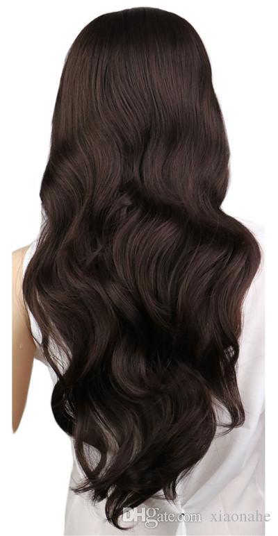 Women Ladies Long Curly Cosplay Natrual Black Light Brown Dark Brown 70 Cm Synthetic Hair Wigs