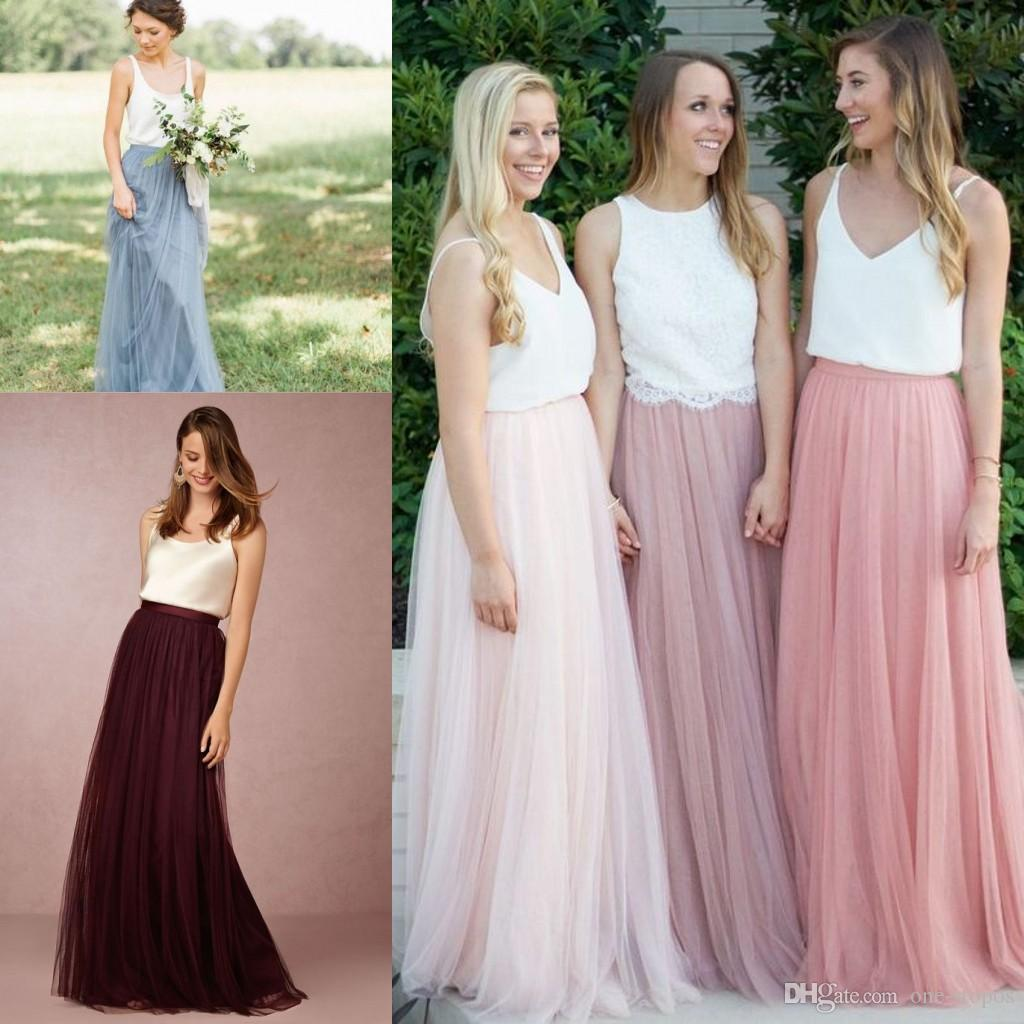 Cheap 2 Piece Wedding Dresses: 2017 Two Piece Long Country Bridesmaid Dresses Floor