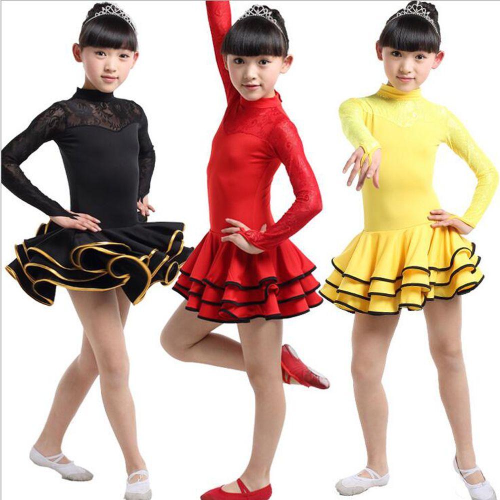 2019 Girls Lace Long Sleeve Latin Dance Dress Ballroom Stage Wear Black  Tango Dress Kids Salsa Dance Skirt Competition Dancewear Cotumes From  Gingle88 62045d061309