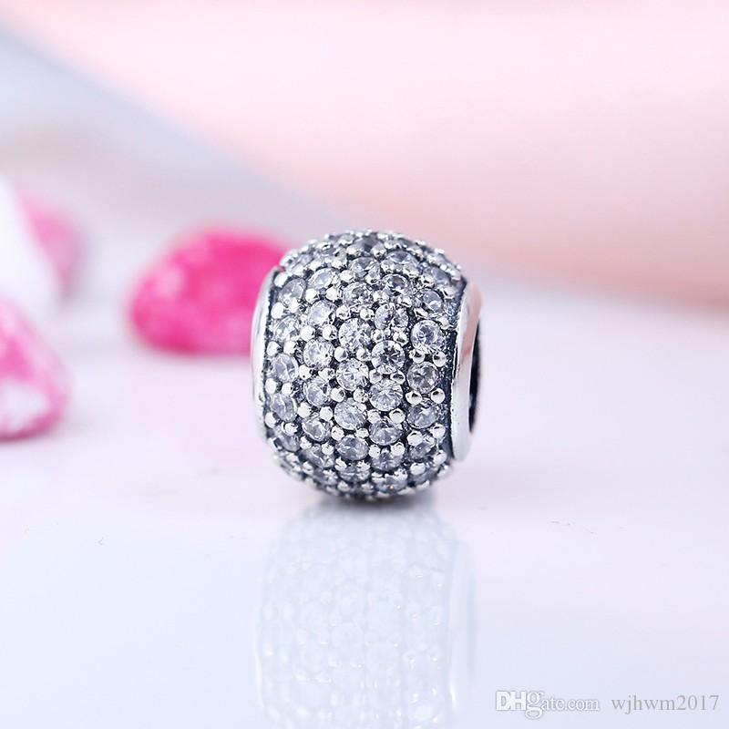 Fits Brand Charm Bracelet 100% 925 Sterling Silver Jewelry Bead Ball Crystal Pattern European Charm DIY Jewelry Making Accessories