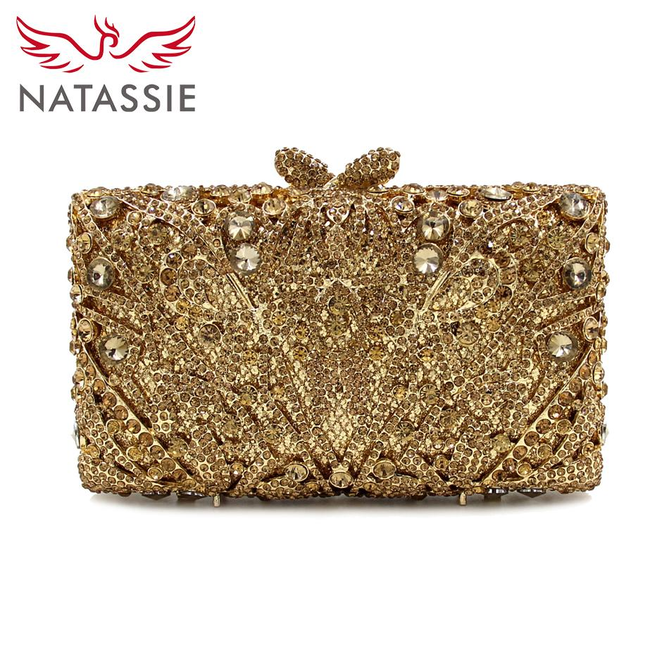Wholesale- NATASSIE 2016 New Women Luxury Diamonds Evening Handbag Crystal Clutch  Bag Mini Party Purse Gold Party Purse Purse Gold Crystal Clutch Bag Online  ... 34592a998698