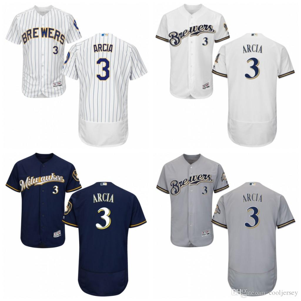135188d5d ... sale 2017 baseball jersey milwaukee brewers 3 orlando arcia majestic  flex base cool base .