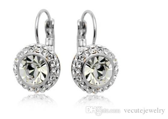 Wholesale Price 18k White Gold Plated Swarovski Crystal Round Women Earrings Rhinestone Dangle Earrings Factory Price