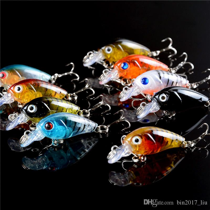 9 Cor 4,5 centímetros 4g Crank Fishing Hooks anzóis 10 # gancho rígido Iscas Lures b-001