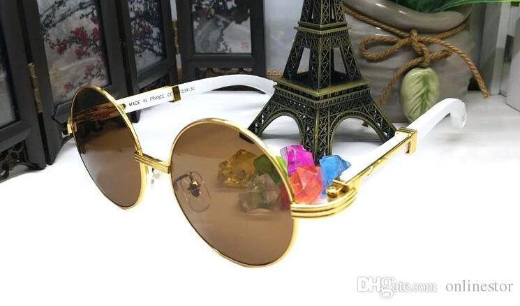 Moda de Nova Mens Sports Rodada sem aro dos óculos de sol das mulheres dos homens chifre de búfalo Sun óculos Atitude Espelho de bambu Madeira Óculos Lunettes gafas