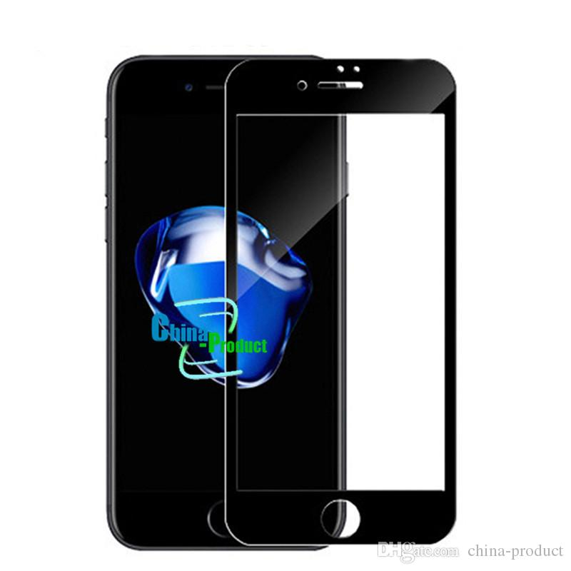 Tempered Glass Film For Iphone 6 7 6S Plus 3D Curved Full Cover Soft Edge Screen Protectors Carbon With Packing For with retail box