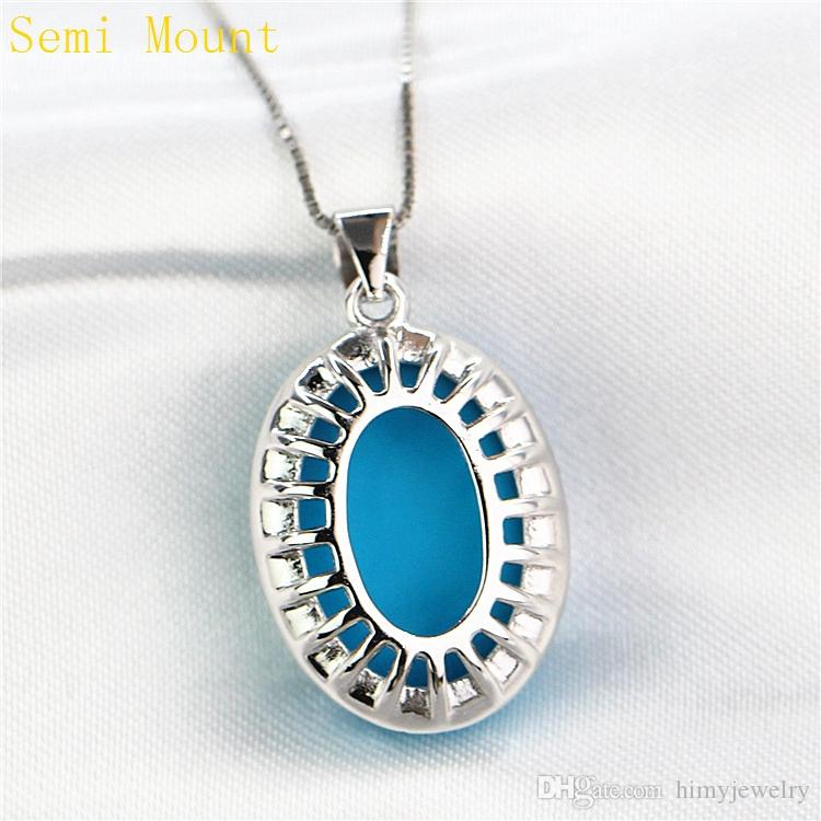 Sterling Silver 925 Plated White Gold Semi Mount Party Pendant for 13x18mm 15x20mm Oval Cabochon Amber Turquoise DIY Stone Setting