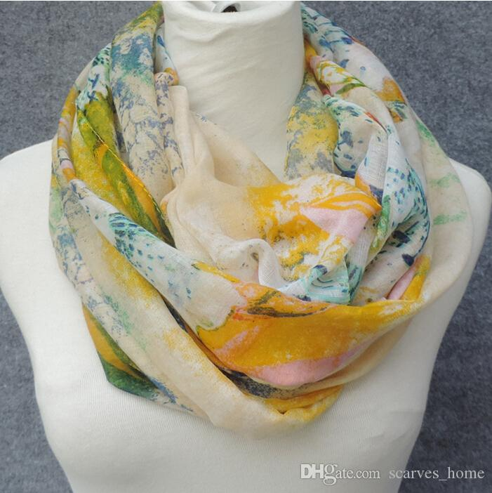 New Design Florial Voile Cotton Infinity Scarf light color Fashion Flower Print Circle Scarf Large Size Long Scaves Women around Scarfs