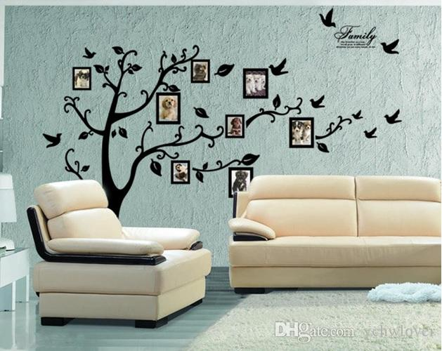 Large Size Black Family Photo Frames Tree Wall Stickers Diy Home - Wall decals with picture frames