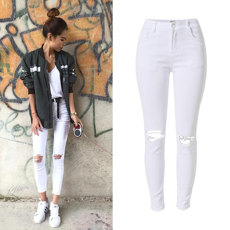 New Fashion Ladies White Ripped Jeans Women Skinny High Waist Jeans Femme  Stretch Jean Taille Haute Plus Size White Ripped Jeans Women High Waist  Jeans