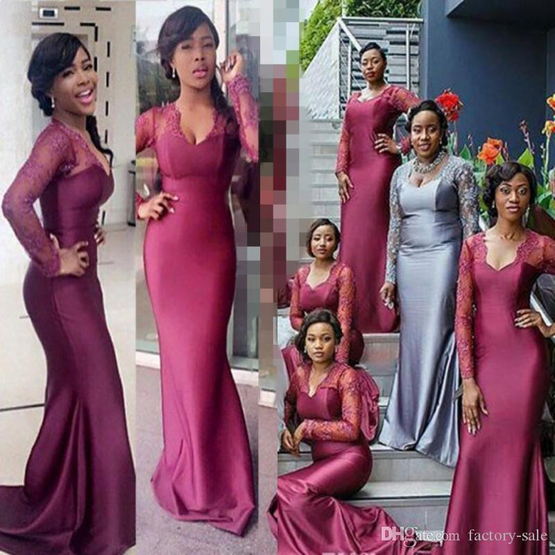 cda0c511cbd 2017 Sheer Long Sleeves Bridesmaid Dresses Mermaid V Neck Purple Appliques  African Nigeria Girls Wedding Guest Maid Of Honor Group Dresses Autumn  Bridesmaid ...