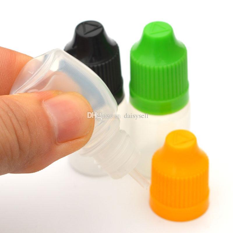 E-Cig Frasco gotero de plástico con tapa a prueba de niños y punta larga y delgada Botella vacía 3ml 5ml 10ml 15ml 20ml 30ml 50ml Botellas de e-líquido