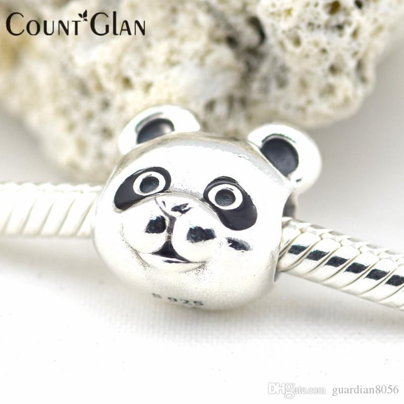 Fits Pandora Charms Bracelet Peaceful Panda Black Enamel Beads