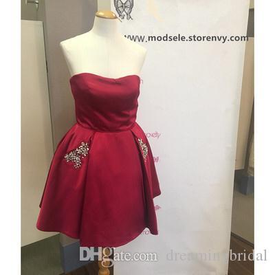 Einfache Gelbe Kurze Cocktailkleider Trägerlosen Cry Taschen Party Kleider 2017 Neue Formale Prom Kleider Für Kleider Nach Maß Plus Größe