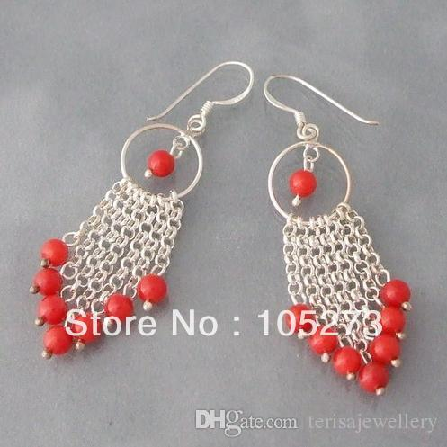 New Multi Strand Chain Red Coral Drop Earrings 925 Sterling Silver Hook 6mm Round Shaper Jewelry Wholesale Price