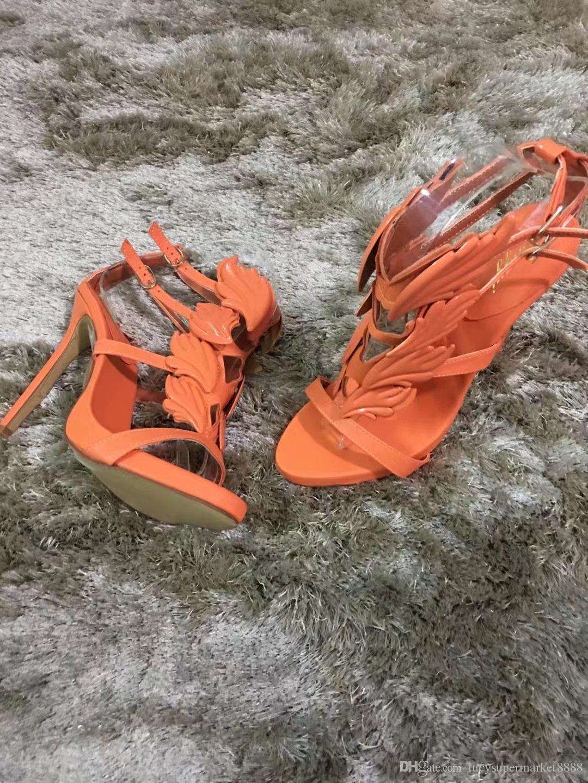 2017 Summer WOMEN Golden Metal Wings Leaf Strappy Dress Sandal Silver Gold Red Gladiator High Heels Shoes Women Metallic Winged Sandals