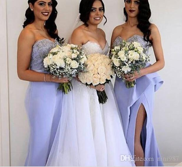 가벼운 라일락 인어 신부 들러리 드레스 2017 년 아가씨 정면 쪼개지는 겉옷 기차 공식적인 결혼식 손님 파티 이브닝 가운 주문품 복장