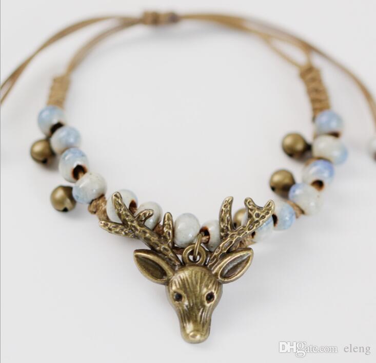 Cuentas de cerámica dulce tejidas a mano de estilo vintage Bronce antiguo plateado cabeza de ciervo Charm Bracelet reno de Navidad AA285
