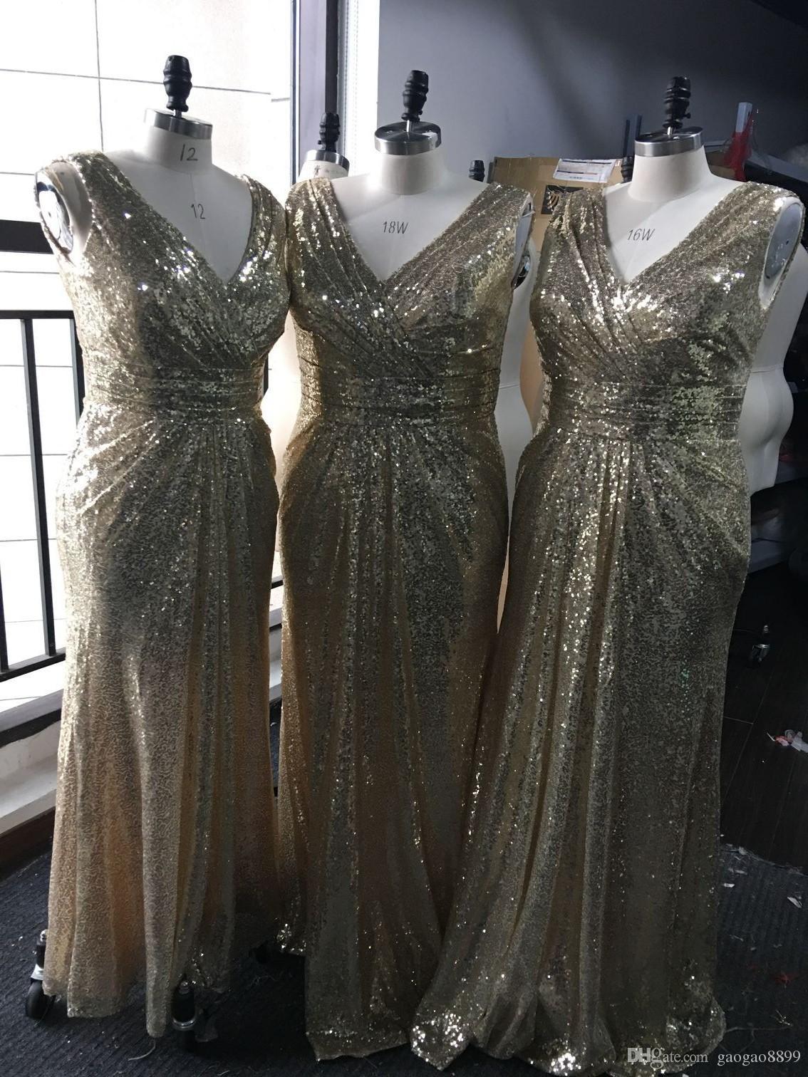Bling Rose Gold V-Ausschnitt Pailletten Brautjungfer Kleider Backless Plus Size Long Beach Brautjungfer Braut Party Abendkleider 2017 Custom billig
