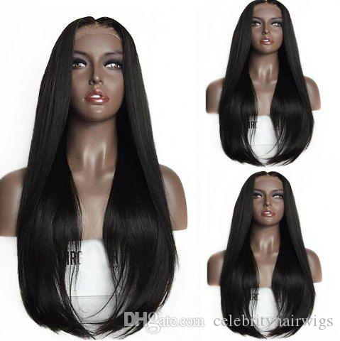 parrucca anteriore vergine naturale glueless capelli umani vergine parrucca anteriore 1b # off nero densità 150% donna