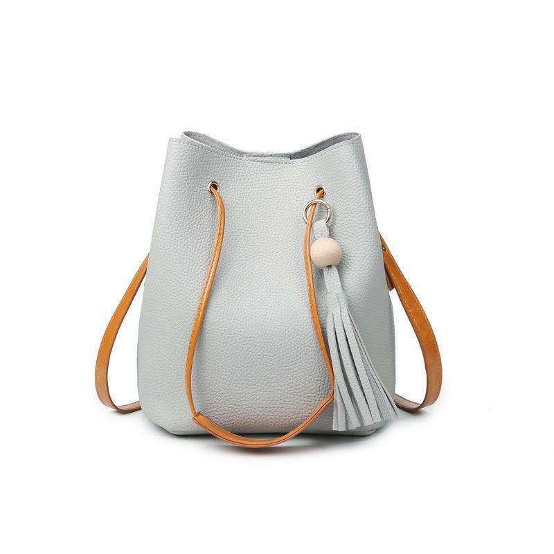 Wholesale-Fashion Casual Fassel Women Bag Litchi PU Leather Women ... 049e950af6196