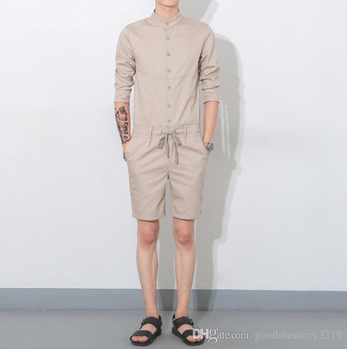 Yaz Moda Dennim Ronpers Mne'nin Şort Kollu Junpsouit Erkek Serin Haren Kısa bjb Külot Tulum Hop Streetwear geri fermuar