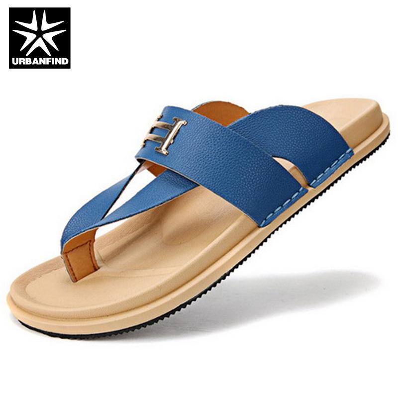 9ce841063 Wholesale Fashion PU Men Flip Flops EU 39 44 New Summer Design Metal Deco  Man Beach Casual Sandals   Flat Shoes Blue   Orange Flat Sandals Strappy  Sandals ...
