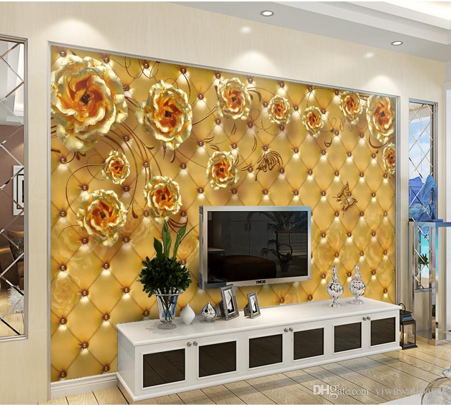 Golden Rose Soft Bag Living Room Bedroom Tv Background Wall Murals Mural 3d  Wallpaper 3d Wall Papers For Tv Backdrop H Wallpaper Ha Wallpaper For Pc  From ... Part 66