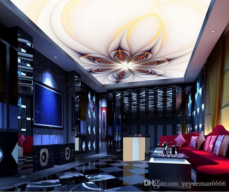пользовательские роскошные 3D обои для потолков абстрактный золотой цветок европейский стиль нетканые 3D потолок фрески обои, европейский
