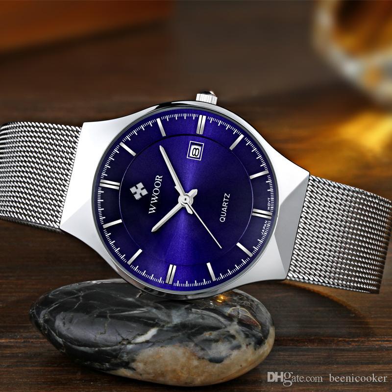 601b2fef1ec Compre Nova Moda Top Marca De Luxo Relógios Homens De Quartzo Relógio  Pulseira De Malha De Aço Inoxidável Ultra Fino Relógio De Discagem Relogio  Masculino ...