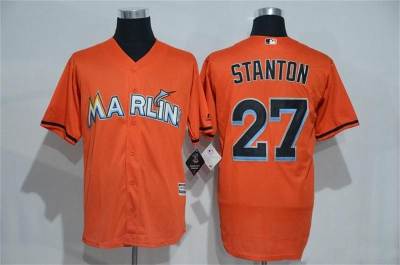 9833992a8 ... white e078c 961b4 low cost mlb cheap mens miami marlins 27 giancarlo  stanton jersey orange firebrick player authentic high ...