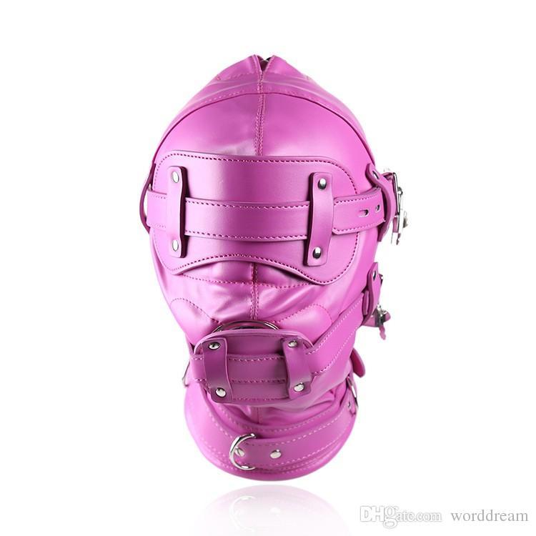 Bdsm Fetish Sex Leather Hood Mask Headgear Mouth Plug Bondage Slave Restraint Lockable Flirting Toys In Adult Games For Women